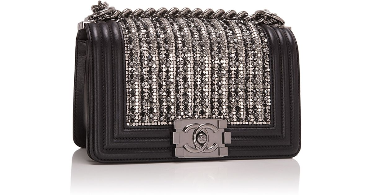 b564fd633164 Lyst - Madison Avenue Couture Black Lambskin Small Boy Bag With Metallic  Glass And Pearl Embroideries