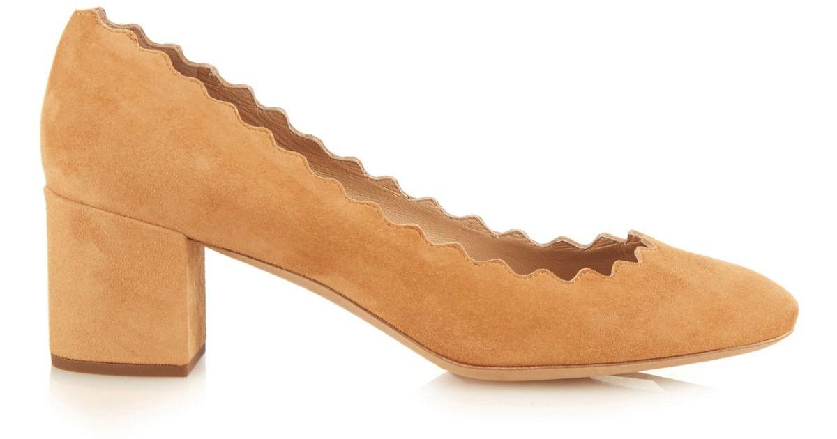 64f3fa1224643 Lyst - Chloé Lauren Scalloped-edge Block-heel Suede Pumps in Brown