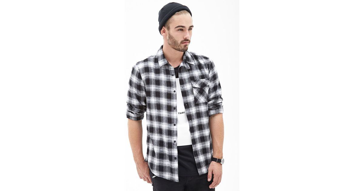 Forever 21 blurred plaid flannel shirt in black for men lyst for White flannel shirt mens
