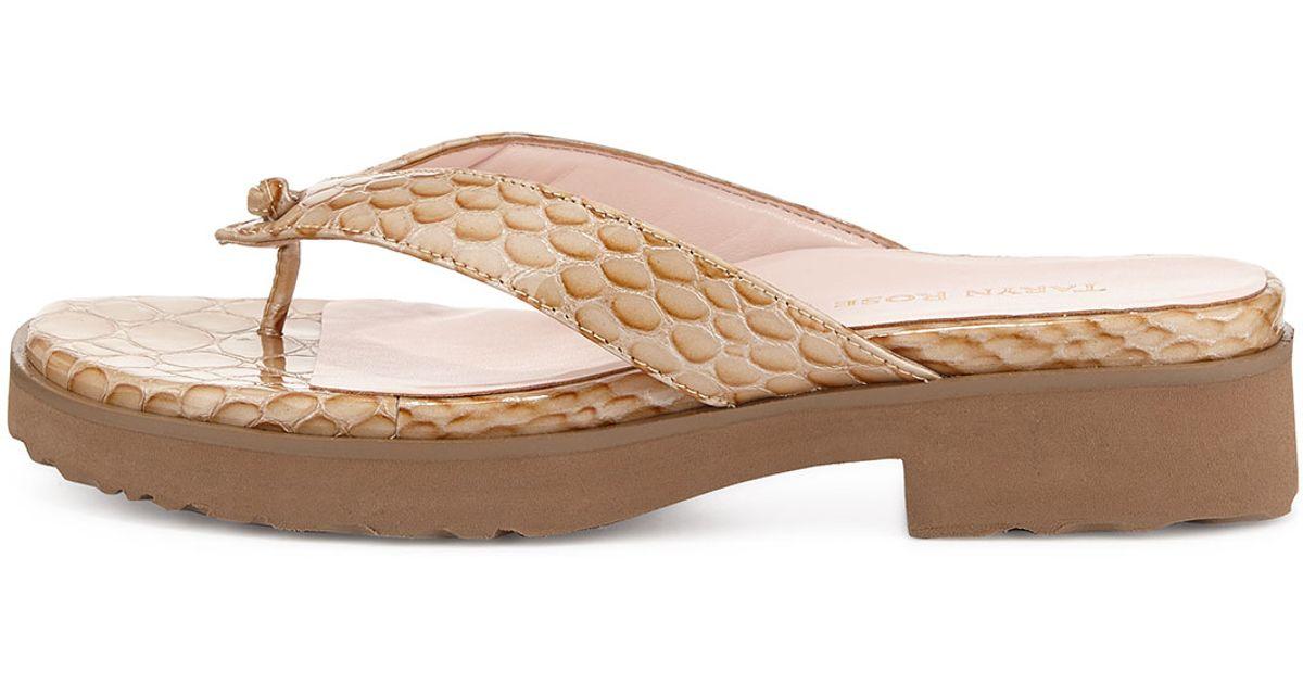 de330fa7412 Lyst - Taryn Rose Tara Serpent Patent Leather Sandal in Natural