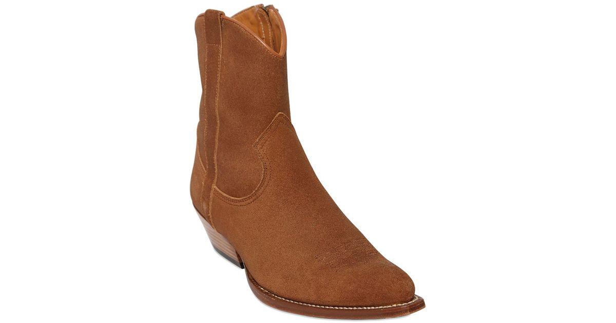 35e710b2f6b Saint Laurent Brown 40Mm Santiag Suede Cowboy Boots