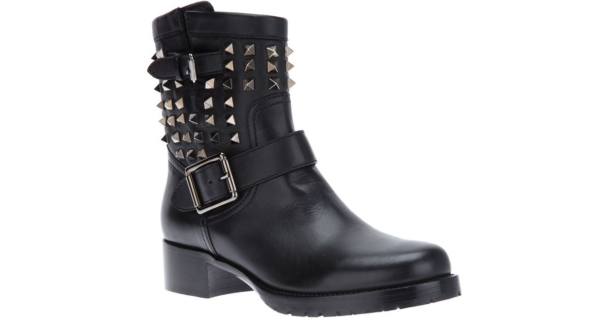 8b09240a8f89 Lyst - Valentino  Rockstud  Biker Boots in Black