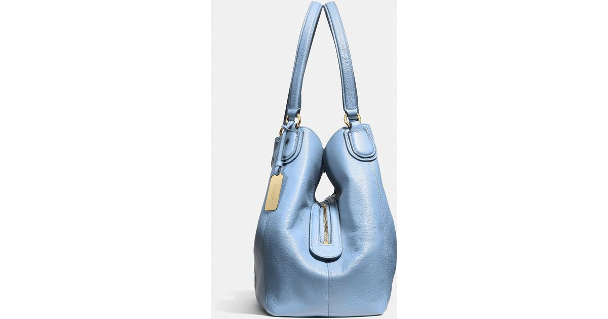 80b37a7b48 Lyst - COACH Embossed Horse And Carriage Edie Shoulder Bag In Pebbled  Leather in Blue