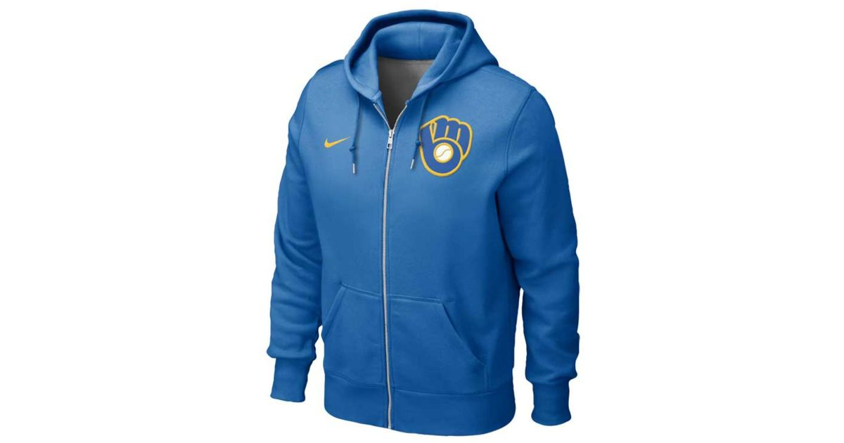 meet 531f1 60cfa Nike Blue Women'S Milwaukee Brewers Full-Zip Classic Hoodie