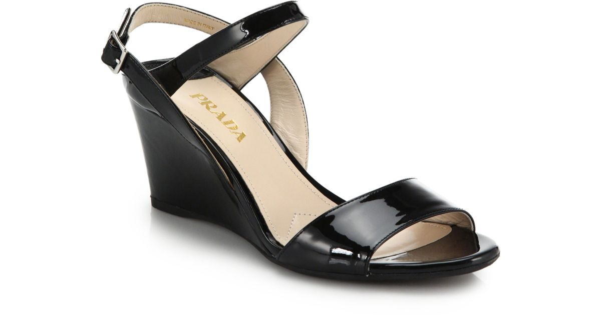 ae38cf63eb Prada Black Patent Leather Wedge Sandals