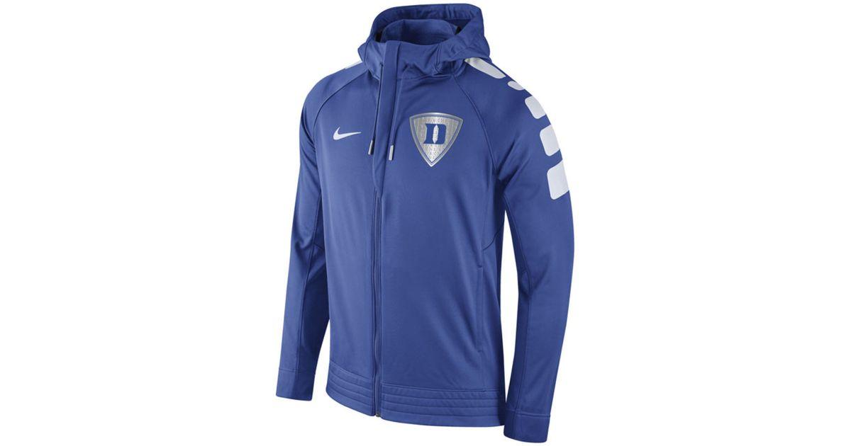 Nike Men's Duke Blue Devils Elite Stripe Basketball Performance Full zip Hoodie for men