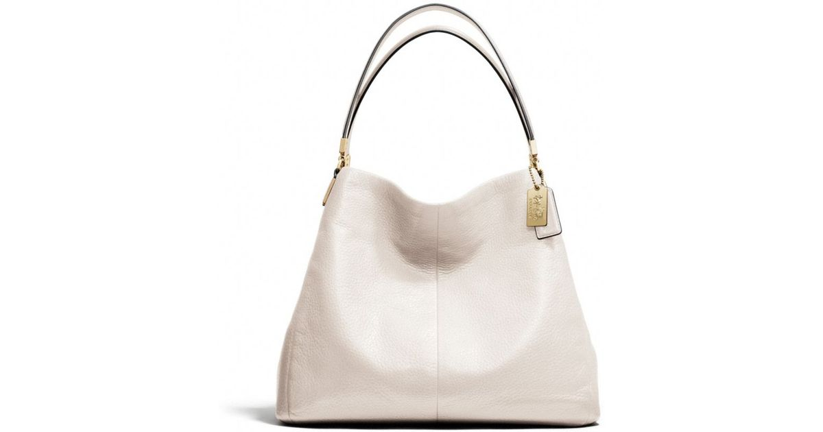 Coach White Madison Small Phoebe Shoulder Bag In Leather