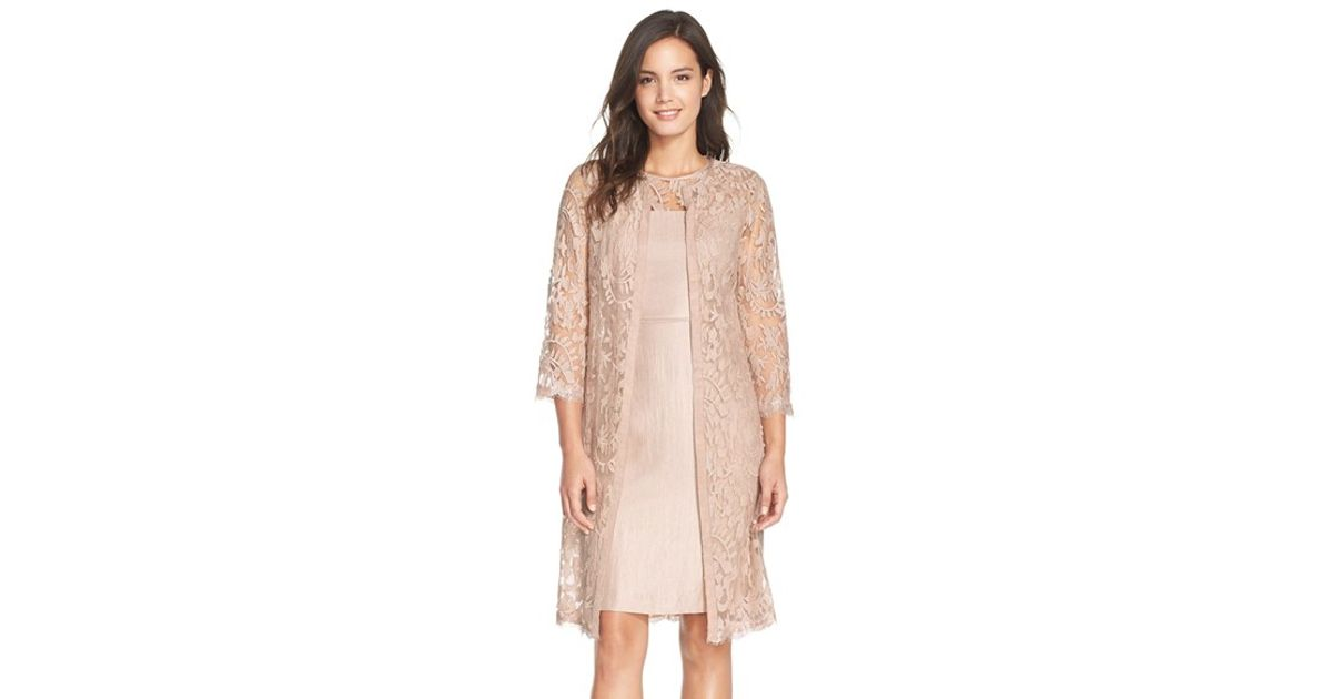 Adrianna Papell Pink Embroidered Lace Illusion Yoke Sheath Dress Topper