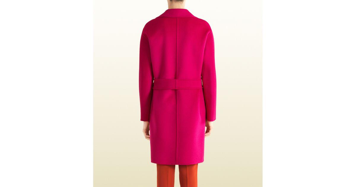 Gucci Fuchsia Wool Wrap Coat in Pink   Lyst