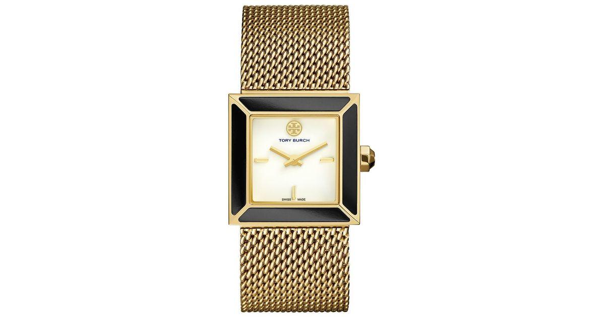 6f1f98a977934f Lyst - Tory Burch Sawyer Watch, Gold-tone Mesh onyx, 25 Mm in Metallic