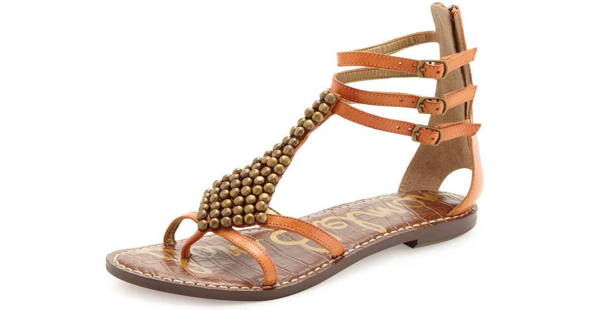 ed5bf0e799a2 Lyst - Sam Edelman Ginger Studded Gladiator Sandal in Brown