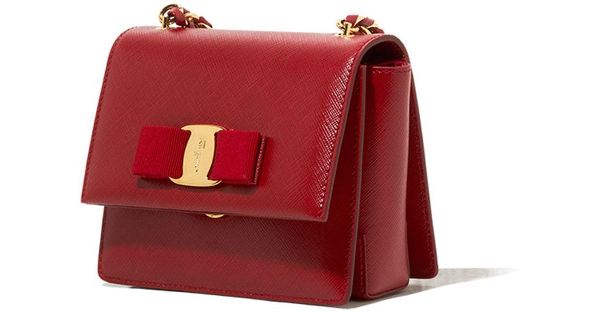 Lyst - Ferragamo Ginny Mini Saffiano Crossbody Bag in Red 2a81027382db1