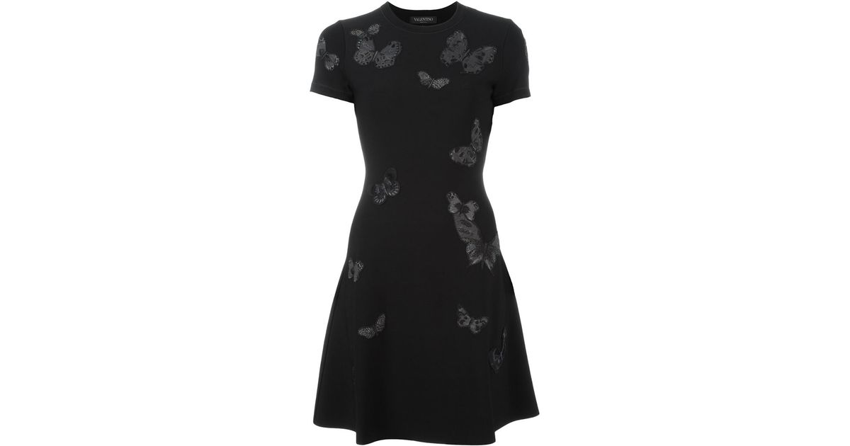Valentino butterfly embroidered dress in black lyst