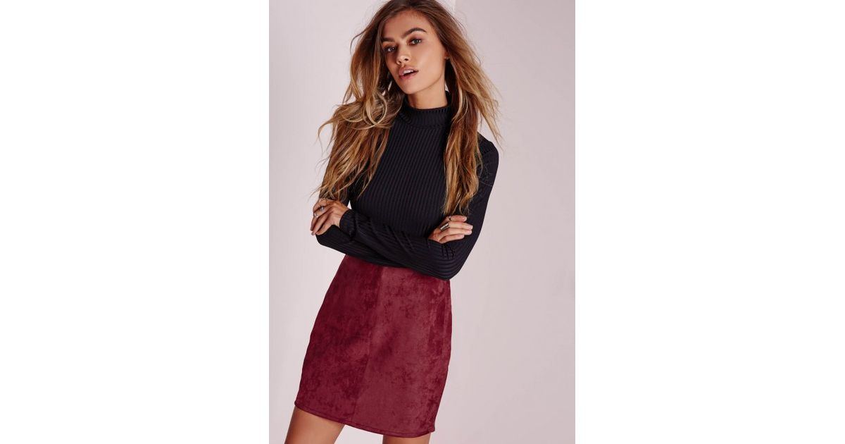 196b1e223 Lyst - Missguided Faux Suede Mini Skirt Burgundy in Purple