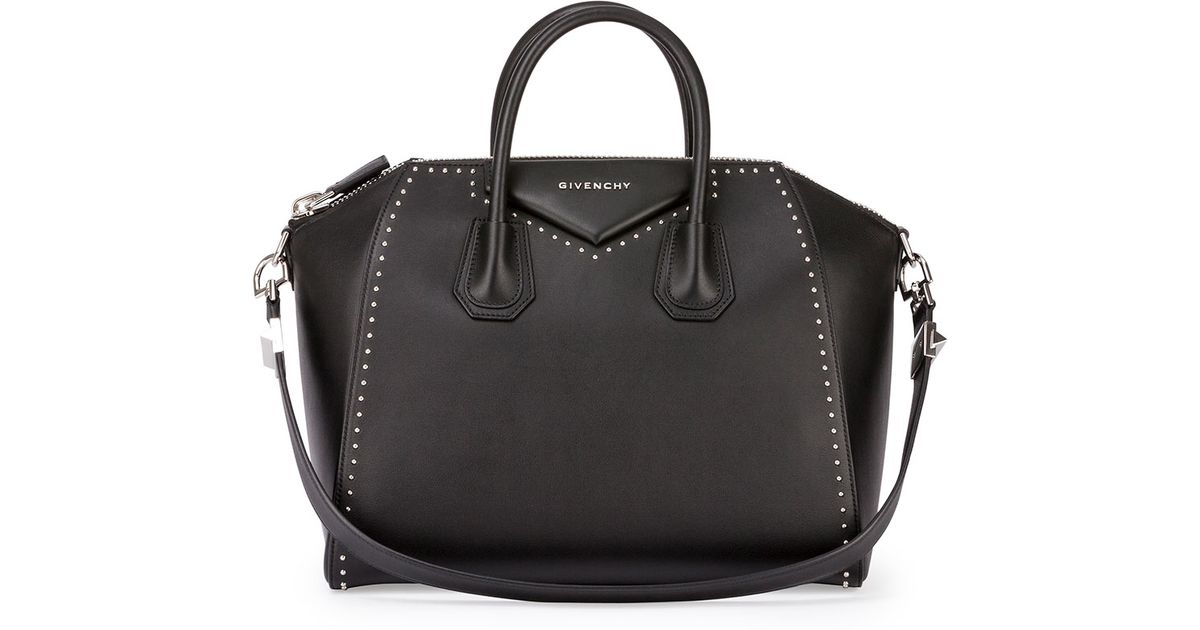 Givenchy Antigona Medium Studded Satchel Bag in Black | Lyst