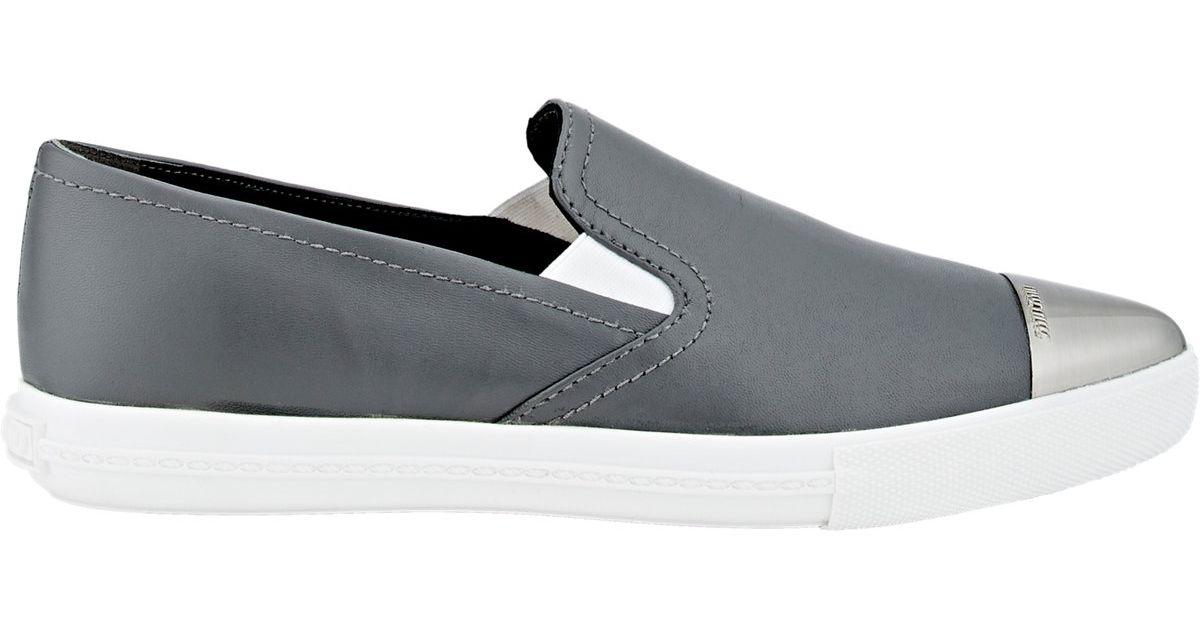 miu miu s metallic toe sport sneakers in gray lyst