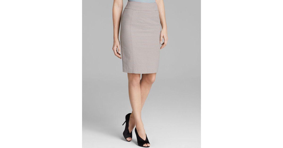 burberry pencil skirt seersucker in gray lyst