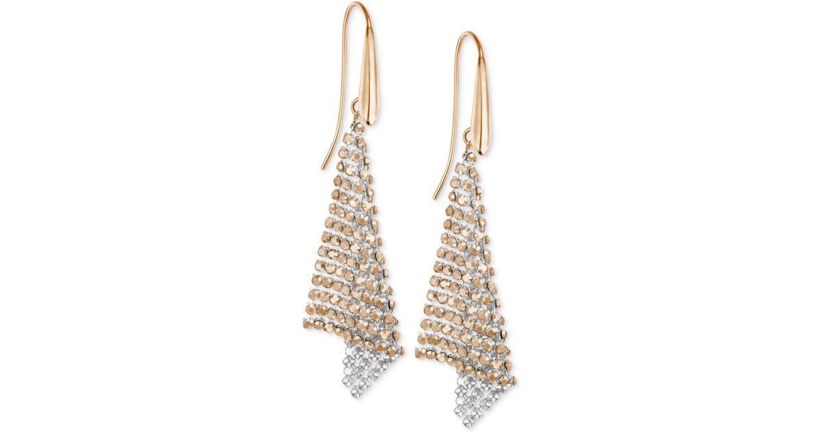 adff282371d0a Swarovski Pink Rose Gold-tone Crystal Mesh Drop Earrings