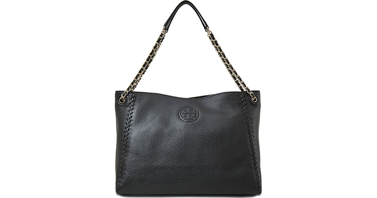 3b2ad4791a48 ... cheap lyst tory burch marion chain shoulder slouchy tote in black 70b73  51ab3
