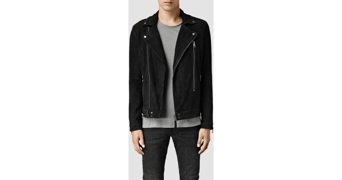 044281990b7 AllSaints Black Geo Suede Biker Jacket for men