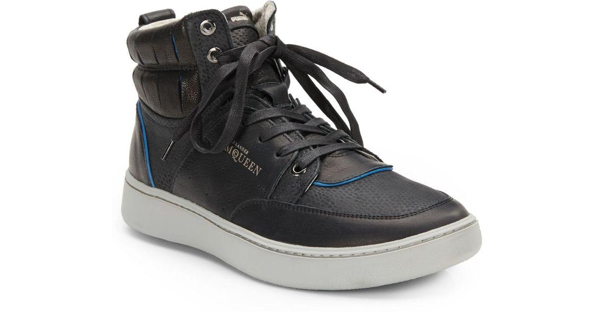 0102ed3630c Lyst - Alexander McQueen X Puma Summer Joust Leather Hightop Sneakers in  Black for Men