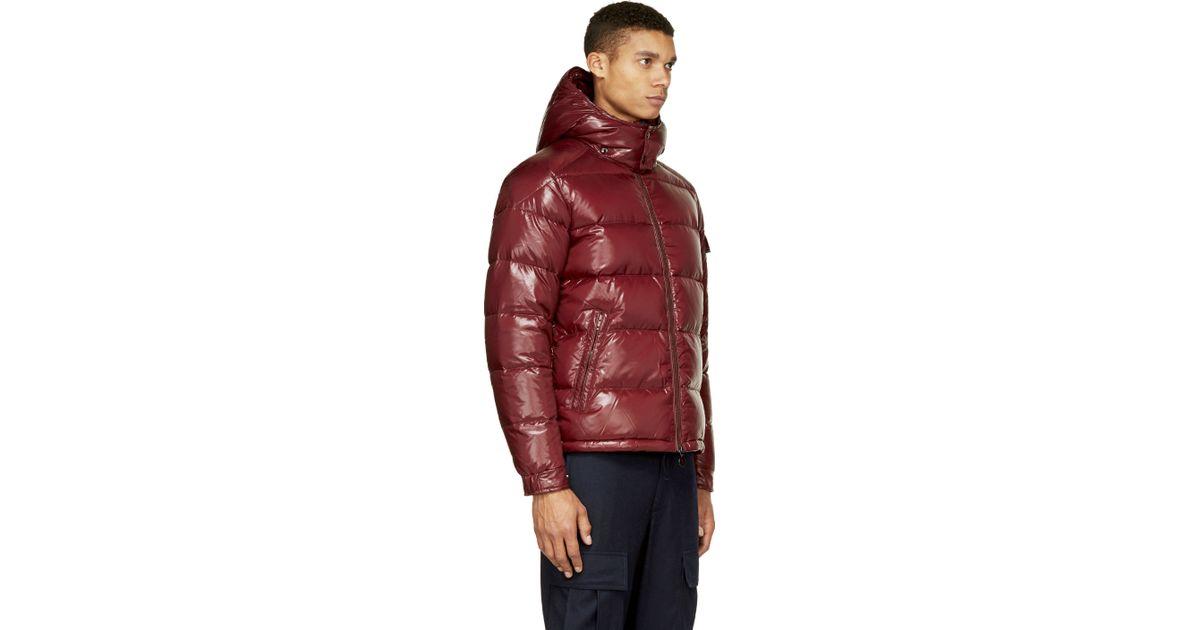 21c6147b8 Moncler Purple Burgundy Quilted Down Maya Jacket for men