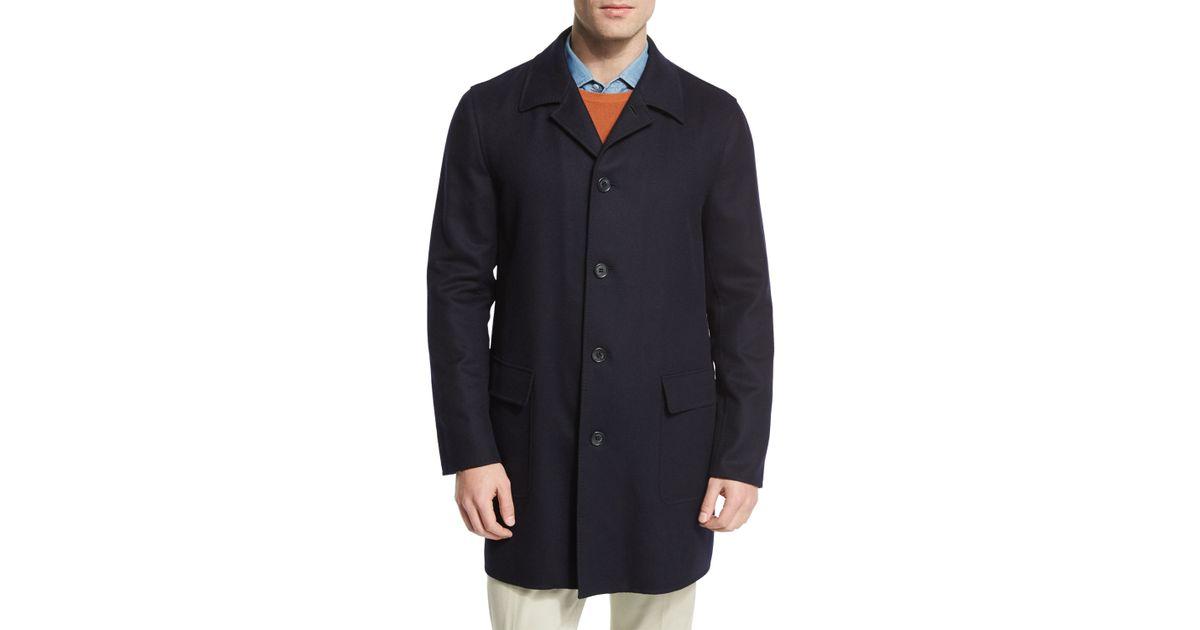 loro piana birmingham coat in blue for