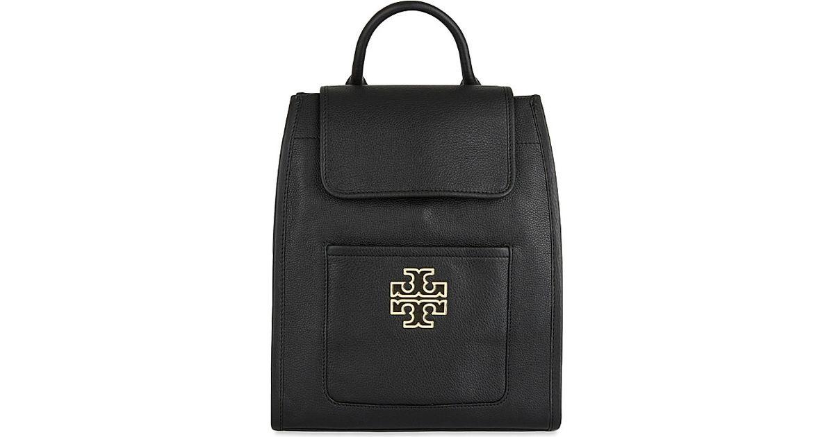 0b005fb4dbf Lyst - Tory Burch Britten Leather Backpack in Black
