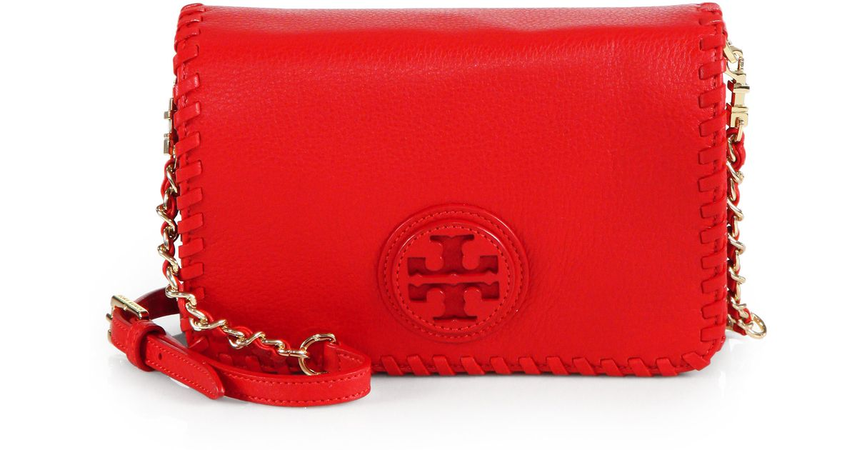 d8efefd49de Lyst - Tory Burch Marion Combo Crossbody Bag in Red