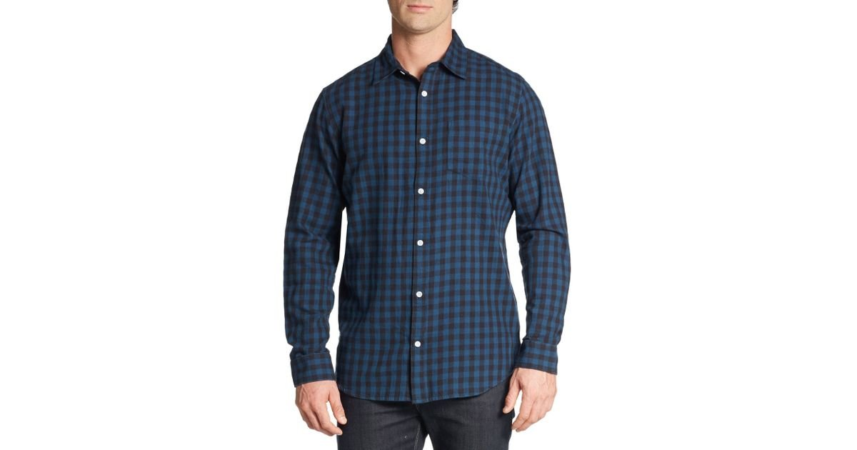 Saks fifth avenue slim fit buffalo plaid cotton flannel for Mens slim fit flannel shirt