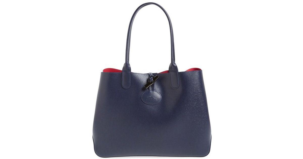 Longchamp Blue 'roseau' Reversible Leather Tote