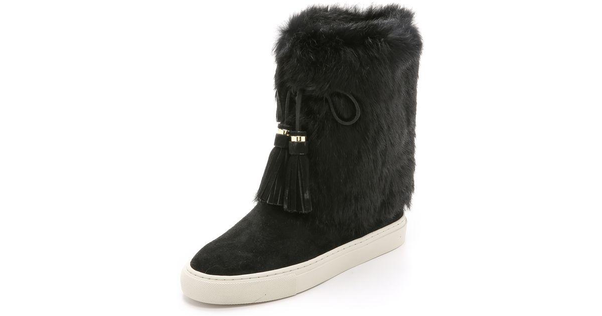 881d3de6a31f Lyst - Tory Burch Anjelica Suede Fur Boots in Black