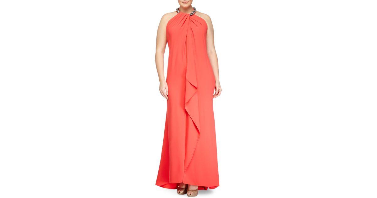 Lyst - Carmen Marc Valvo Sleeveless Beaded-neck Toga Gown in Orange