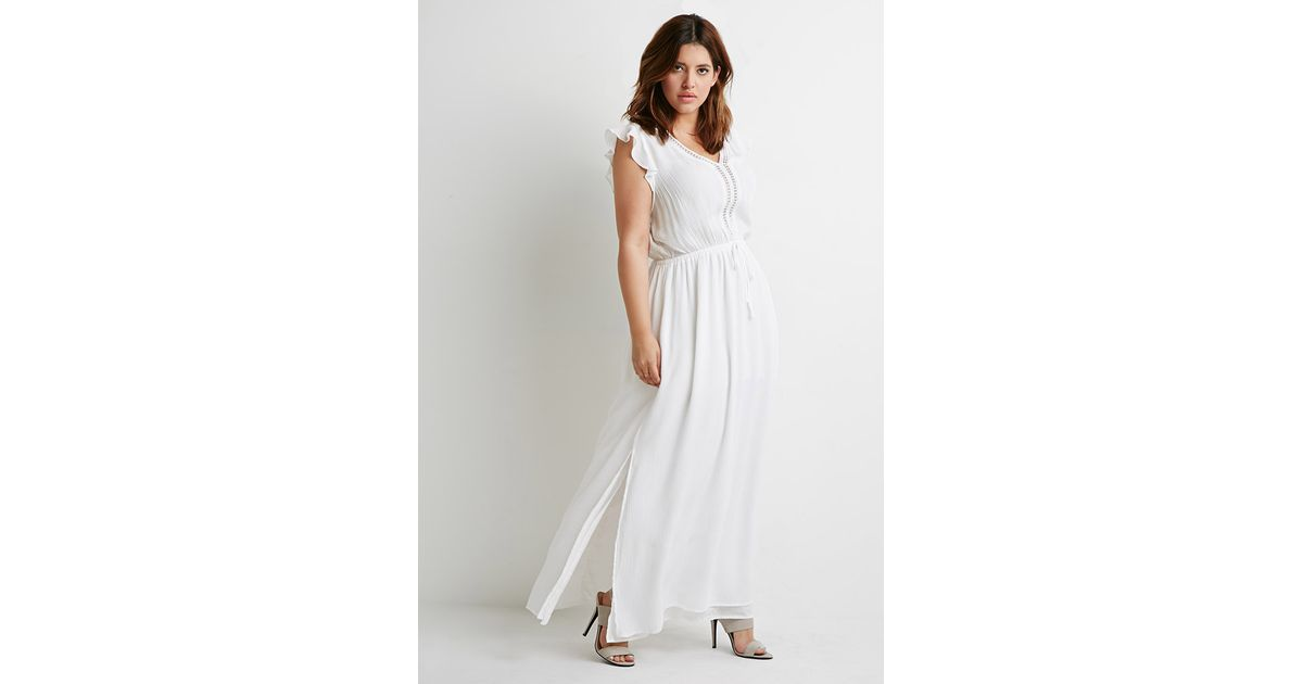 8a9da2dc0f Lyst - Forever 21 Plus Size Crochet-trimmed Maxi Dress in White