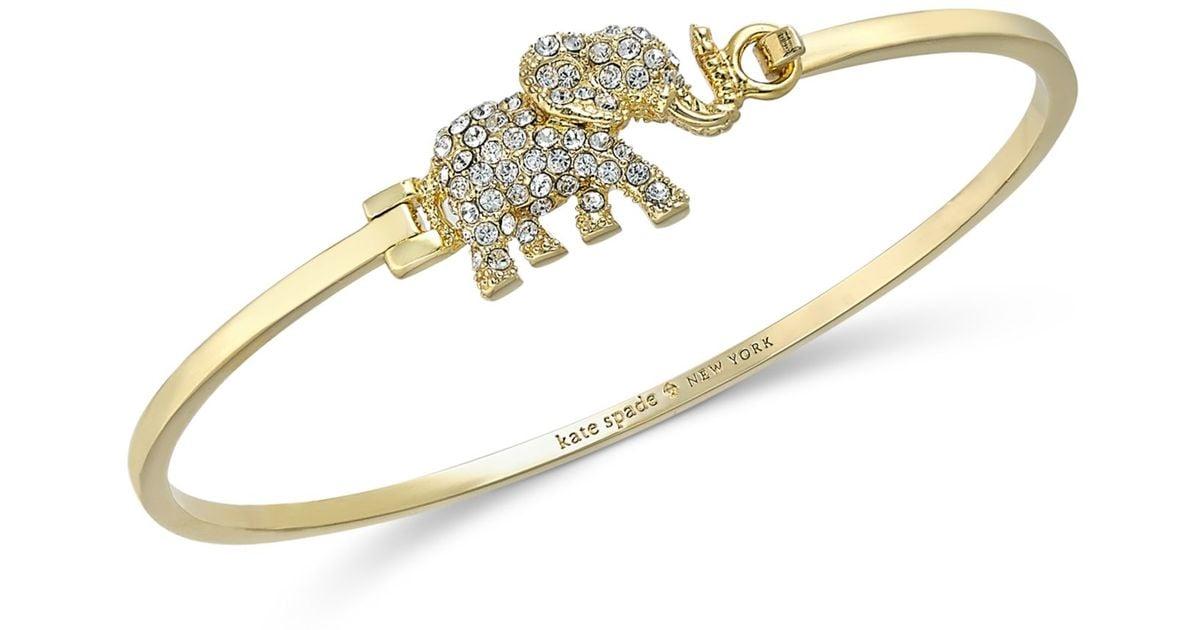 Lyst Kate Spade New York Gold Tone Pavé Elephant Bangle Bracelet In Metallic