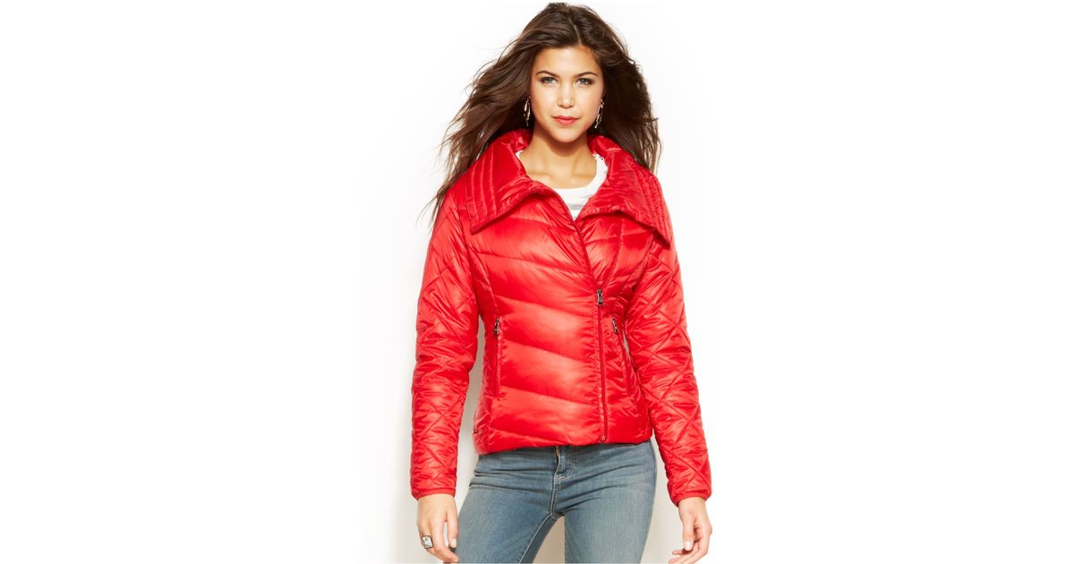 1f8fbfff3 Madden Girl Red Point-Collar Packable Puffer Coat