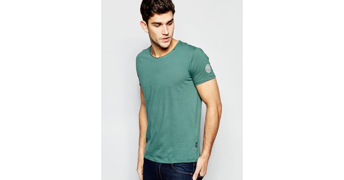 Replay T Shirt Wide Neck Laser Cut In Washed Green In