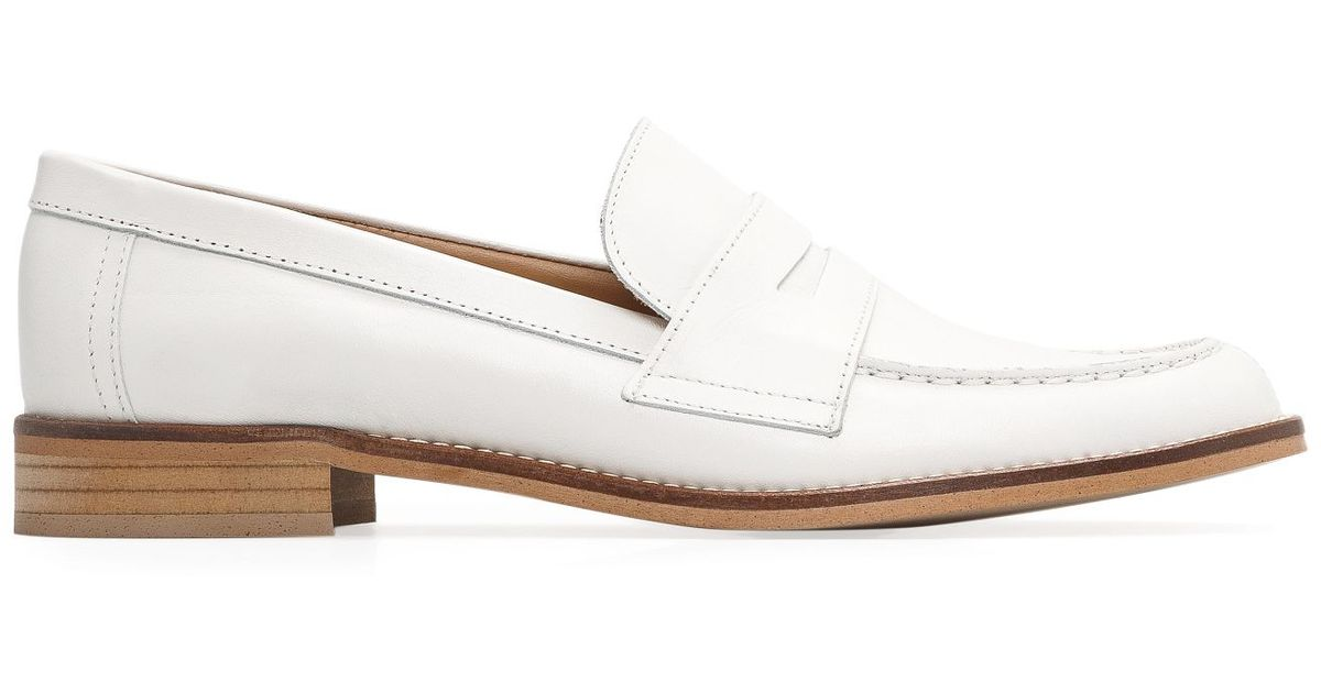 a8b302dd595 Lyst - Mango Leather Penny Loafers in White