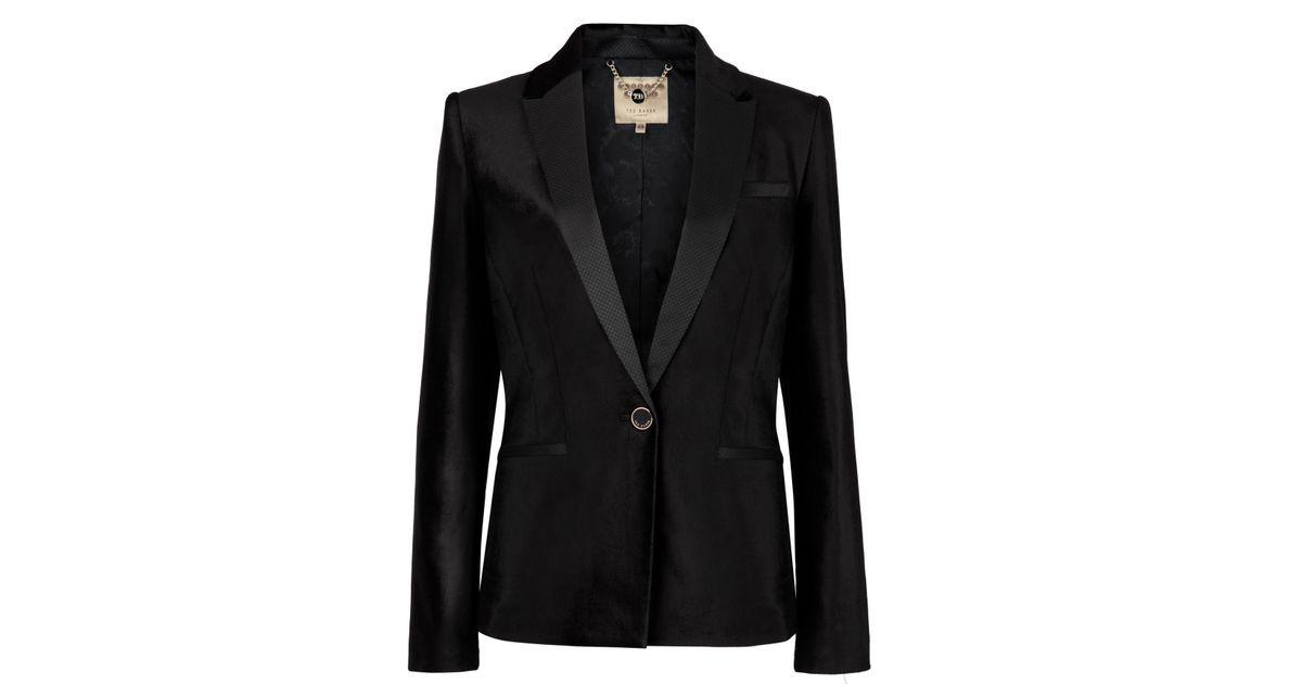 b855608a4 Lyst - Ted Baker Tuxedo Style Velvet Jacket in Black