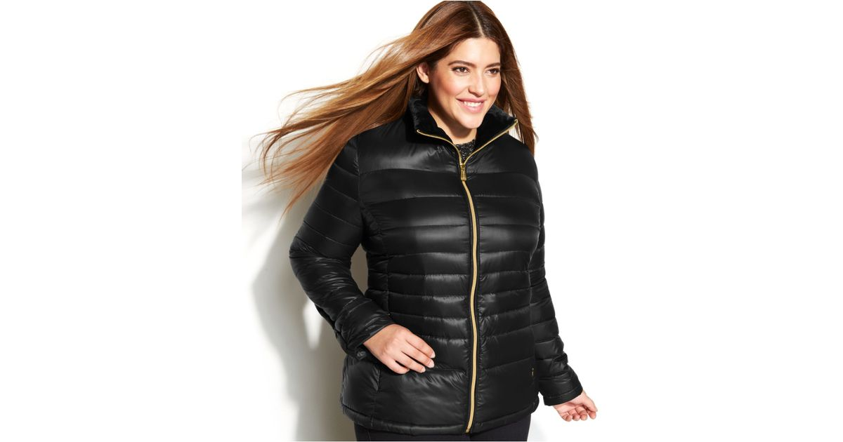 0f85393c8464 Calvin Klein Plus Size Quilted Packable Down Puffer Coat in Black - Lyst