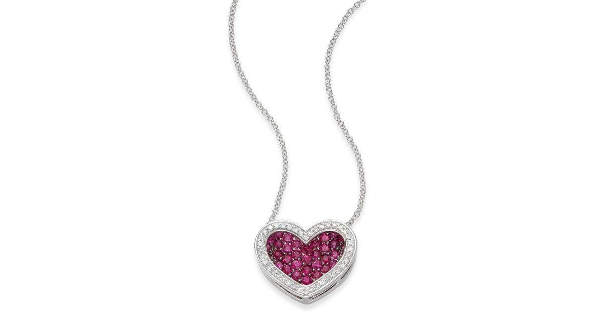 Lyst effy ruby diamond 14k white gold heart pendant necklace lyst effy ruby diamond 14k white gold heart pendant necklace in pink aloadofball Gallery