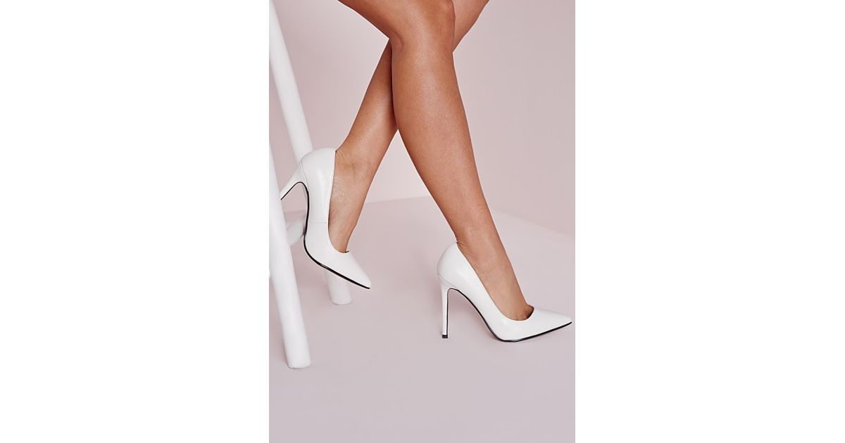 Missguided Pu Court Shoes White - Lyst