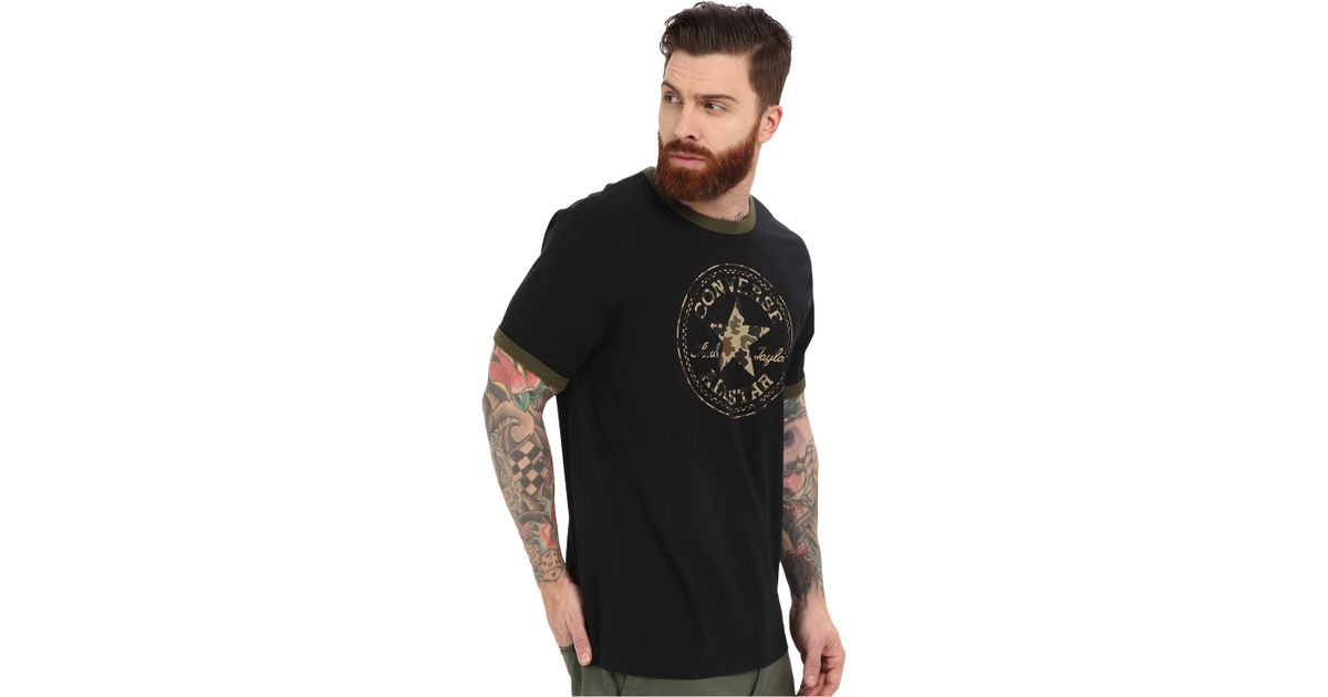 8a50347bbaaf Lyst - Converse Camo Chuck Patch Ringer Tee in Black for Men