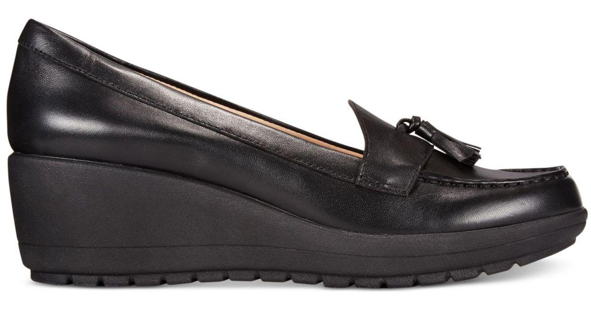 Coria Platform Wedge Loafers in Black