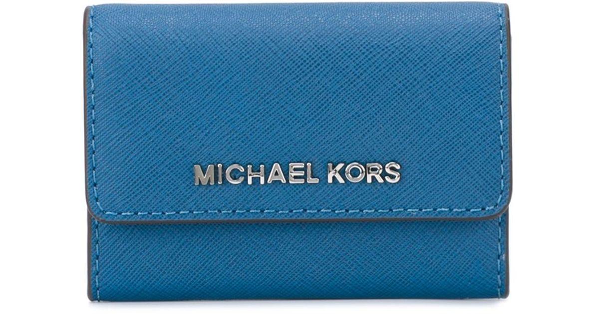 Lyst michael michael kors logo business card holder in blue for men colourmoves