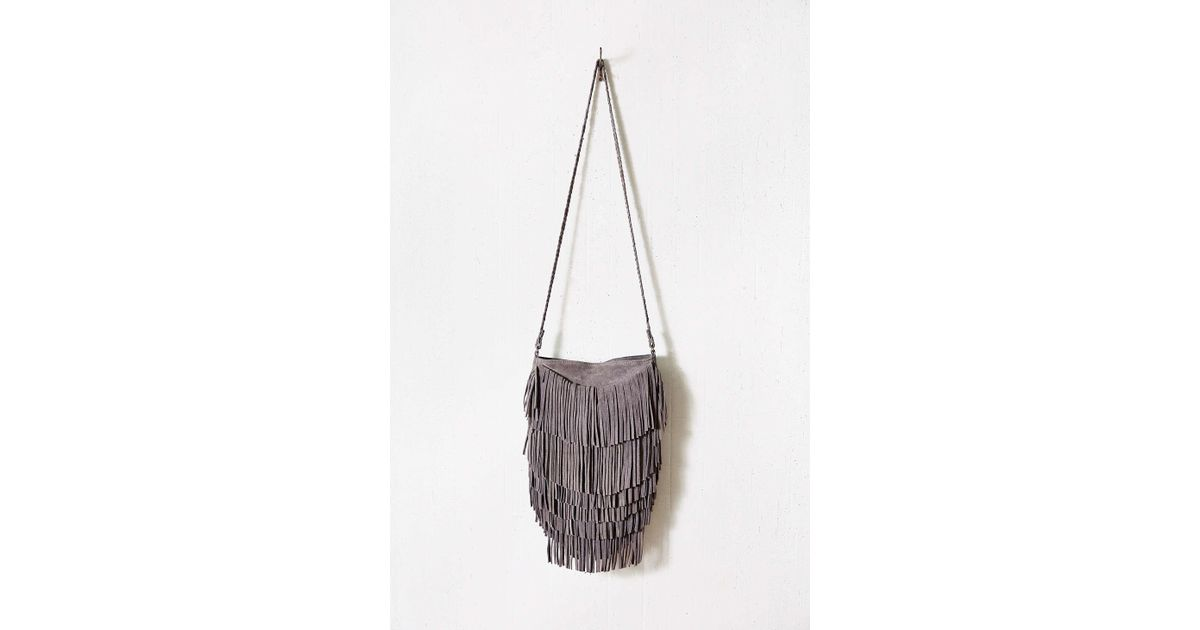 c2b6ba33a Ecote Suede Layered Fringe Crossbody Bag in Gray - Lyst