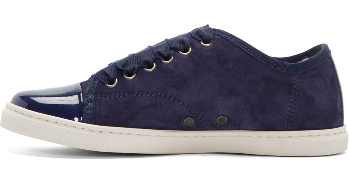 sarte farver pris reduceret billig Lanvin Blue Navy Suede & Patent Leather Sneakers
