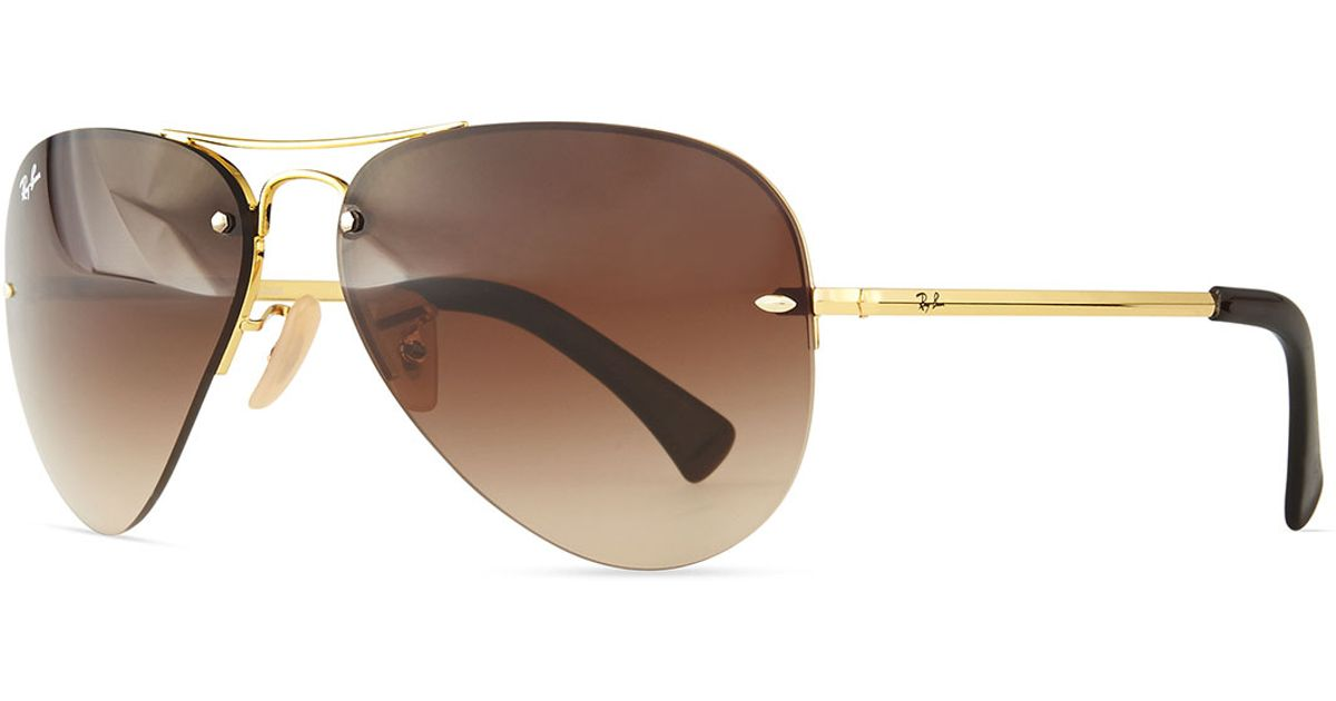 Ray Ban Sunglasses Rimless  ray ban semi rimless aviator sunglasses in brown lyst