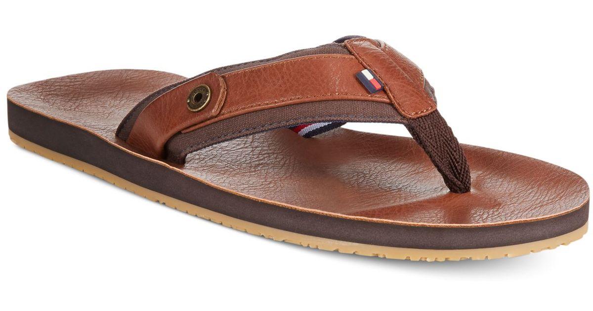 Tommy Hilfiger Drew Leather Flip Flops