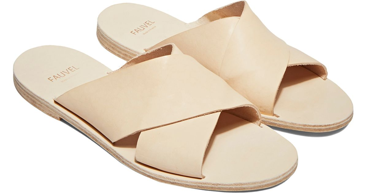 Cross Slip-on Leather Sandals In Nude